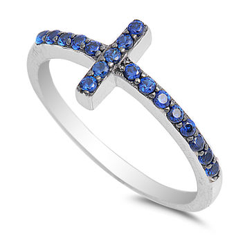 Sterling Silver CZ Simulated Sapphire Christian Sideway Cross Ring 9MM