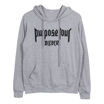 Gogoboi New 2017 Justin Bieber Purpose The World Tour Hoodie woman hoodies long sleeve man lovers hooded sweatshirt S-2XL 3color