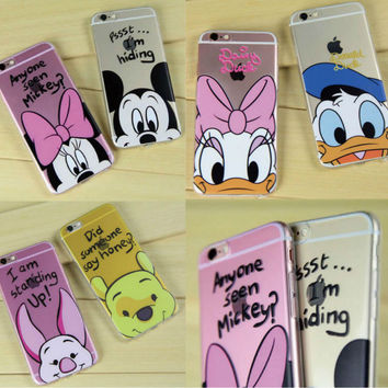 Minnie Mickey Cartoon Donald Duck  Piglet Poof Bear Daisy Duck Lovers Couples case For iPhone 7Plus 7 6Plus 6 6S 5 SE 5C SAMSUN