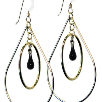 Black Pear Earrings