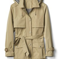 Water-resistant short hooded trench   Gap