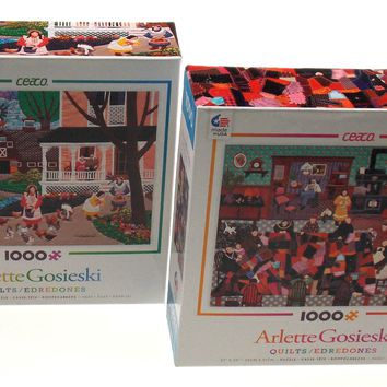 Ceaco Arlette Gosieski Quilts Jigsaw Puzzles 1000 Pieces 27x20 Set 2 Made USA
