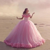 Stunning Hot Pink Ball Gown Wedding Dress With Flowers Off Shoulder 2016 Sweetheart Cathedral Train Vestidos De Novias Plus Size