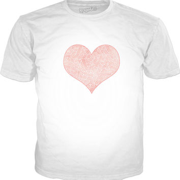 Rose quartz and white swirls doodles heart Classic T-Shirt White