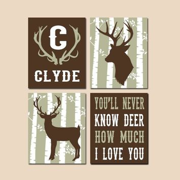 DEER Nursery Wall Art, Canvas or Prints, DEER Decor, Baby Boy Nursery Decor, Rustic Country, Personalized Boy Name, Big Boy Bedroom Set of 4