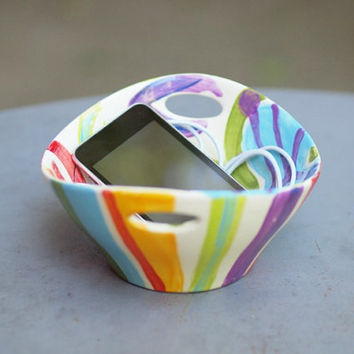 Jubilation Small Handle Bowl - Colorful Pottery for Serving Light Bright Home Decor or Happy Birthday Gift Giving