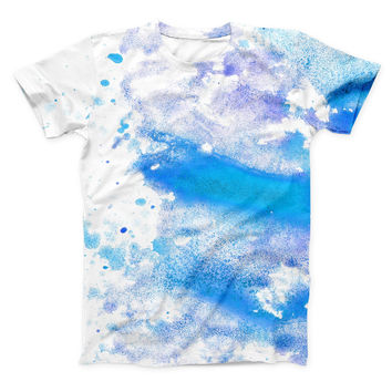 The Blue Watercolor on White ink-Fuzed Unisex All Over Full-Printed Fitted Tee Shirt