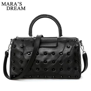 Mara's Dream 2018 Travel Bag PU Leather Traveling Rivets Boston Rivets Women Luggage Bag Large Capacity Baggage Tote Handbags