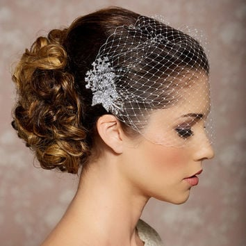 Bridal Veil and Bridal Comb, Bandeau Birdcage Veil, Bird Cage Veil - READY TO SHIP - With Rhinestone Fascinator Comb - The Veronica Veil