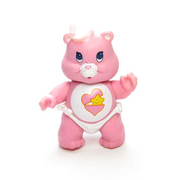 Baby Hugs Bear Vintage Care Bears Poseable Figurine Toy, Pink with Heart & Star Belly Badge, Diaper