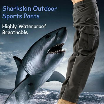 SAGUARO Military Tactical Pants Men 2018 Winter Fleece Cargo Pants Men TAD Shark Skin Waterproof Breathable Casual Trousers 3XL