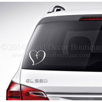 Christian cross heart Car Decal Vinyl Lettering Bumper Sticker Laptop Decal Christian Fish Faith We Believe Car Decal