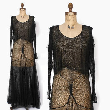 Vintage 30s Lace Dress / 1930s Black Spiderweb Leaf Pattern Lace Evening Gown S - M