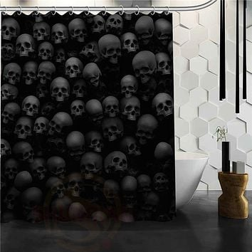Skull Mildew Proof Polyester Shower Curtain With Hooks