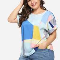 Patchwork Roll Up Sleeve Blouse