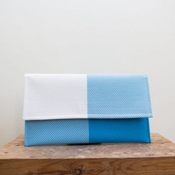 Blue Evening Clutch, Minimalist Clutch in Blue, Plain Blue Clutch, Summer Spring Bag, Magnetic Clasp, Floral Lining