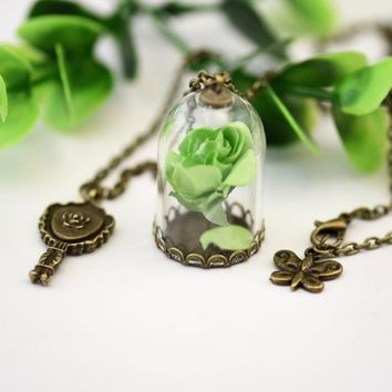 Rose Pendant Necklace  1pc Little Prince  Retro Crystal Glass Vial
