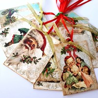 Vintage Merry Christmas Gift Tags with Santa and Children - Set of 8
