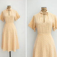 1970s Dress - Vintage 70s Woven Cotton Dress - Le Déjeuner