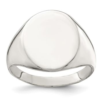 925 Sterling Silver 17x13mm Closed Back Signet Ring