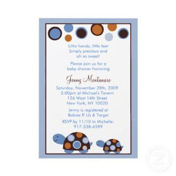 Mod Turtle Blue Brown Baby Shower Invitation from Zazzle.com