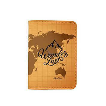 Wanderlust Vintage Old World Map [ Name Customized ] Passport Holder - Novelty Leather Passport Cover - Passport Wallet - Travel Accessory Gift - Travel Wallet for Women and Men_LOKISHOP