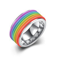 New Fashion Rainbow Ring Trendy Cute Stainless Steel Rings For Women And Men Jewelry Bijoux Gift Gold Plated Hot Selling