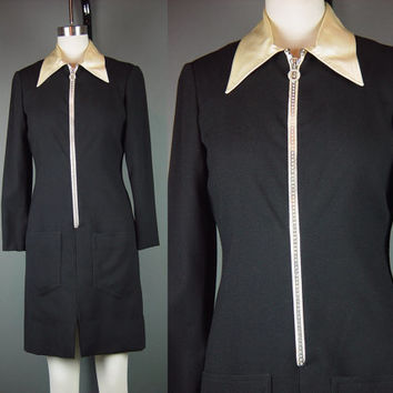 Vintage 70s Short Black Cocktail Dress Oscar de la Renta 1970s Designer Short Party Mod Crepe Rhinestone Zipper M