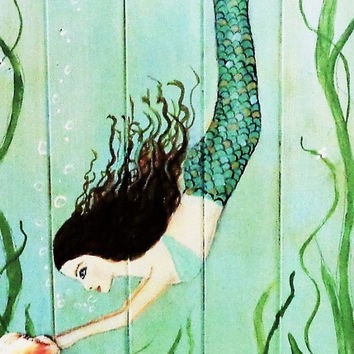 Mermaid Art- Acrylic Painting- Mermaid Bathroom- Coastal Decor- Beach Cottage- Mermaid on Wood- 11X28 inches