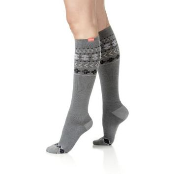 Charcoal & Purple Fair Isle Compression Socks for Women