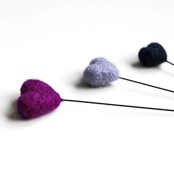 3 needle felted hearts on sticks // purple, lilac, dark blue - 3 wool felted hearts - home decor - love needlecraft - love gift for her