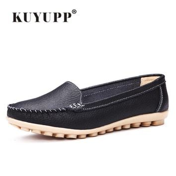 KUYUPP Cow Split Leather Women's Shoes Flats Slip On Nurse Shoes Moccasins Loafers Indoor Slippers large size 35-40 YDT20