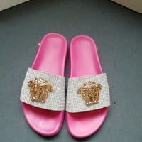 Versace Women Fashion Casual Sandals Slipper Shoes Pink