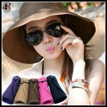 Summer Women Anti-UV Sunscreen Sunshade Cap Foldable Empty Top Sun Cap Collapsible Children Girl Big Brim Straw Hat Adjustable