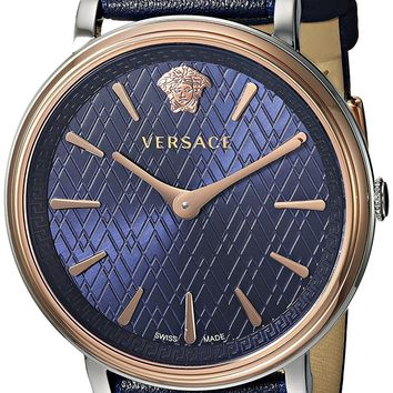 Versace Women's 'THE MANIFESTO EDITION' Quartz Stainless Steel and Leather Casual Watch, Color Blue (Model: VBP090017)