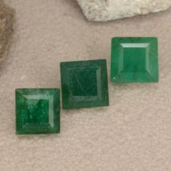 1.04 ct (total) Square Step-Cut Green Emerald 3.8 x 3.7 mm