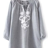 Long Sleeve Lace Up Neck Pin Stripes Embroidered Blouse
