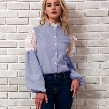 Striped Stand Collar Lace Patchwork Lantern Long Sleeve Blouse