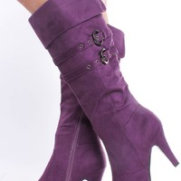PURPLE FAUX SUEDE DOUBLE BUCKLE POINTY TOE FOLDED DOWN KNEE HIGH HEEL BOOTS