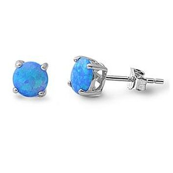 1 Carat Cabochon White or Blue Opal Earrings