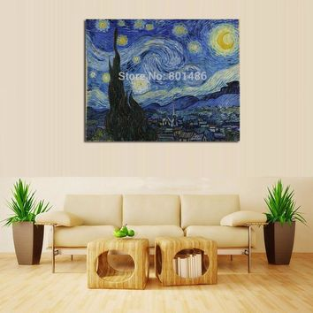 Large Classic Landscape  Van Gogh Oil Painting reproduction On Canvas The Starry Night  canvas print For Living Room Wall Art