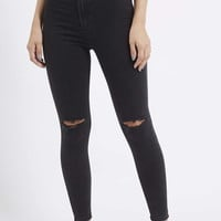 MOTO Washed Black Ripped Joni Jeans - Topshop