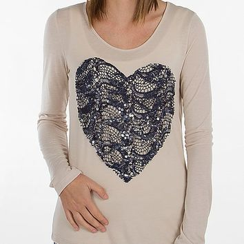 Women's Heart Applique Top in Khaki by Daytrip.