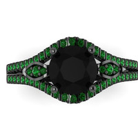 Green Emerald Engagement Ring 14K Black Gold Diamond Wedding Ring with 1.20ct Round Black Diamond Center - V1000