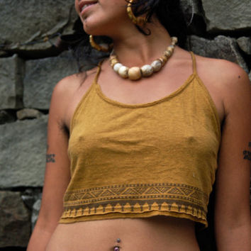 Top Bra Native American Made of Organic Hemp cotton Mustard color Tribal Natural