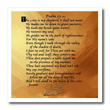 3dRose ht_58716_1 Psalm 23 The Lord is My Shepherd on a Golden Background, Iron on Heat Transfer for White Material, 8 by 8-Inch