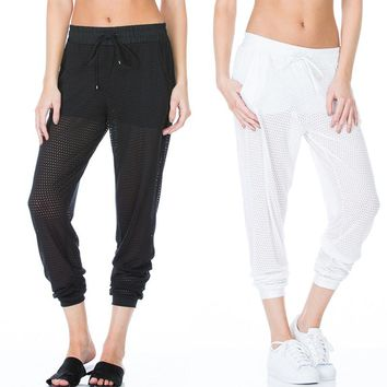 Leggings For Women Thigh Mesh Loose Fake Two Trousers Fitness Leggins Three Color Punk Sporting Leggings Dance Capris