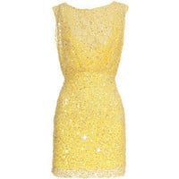 Jenny Packham Yellow Star Sequined cocktail dress - Polyvore