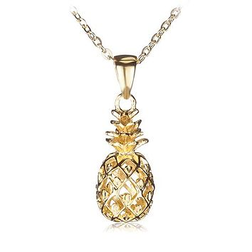 Yellow Gold Plated Sterling Silver Pinapple Pendant(Chain Sold Separately)