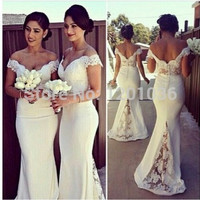 Custom Made 2016 Mermaid V-neck Cap Sleeves White Satin Lace Long Cheap Bridesmaid Dresses Under 50 Wedding Party Dresses